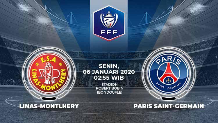 PSG akan melawat ke kandang ESA Linas Montlhery di Stadion Robert Bobin dalam laga lanjutan babak 32 besar Piala Prancis atau Coupe de France. Copyright: © Grafis:Ynt/Indosport.com
