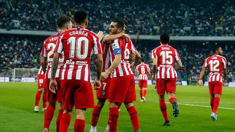 Atletico Madrid berhasil mengakhiri kutukan tiga kali imbang berturut-turut dan melejit ke papan atas klasemen sementara LaLiga Spanyol pada pekan ke-29. Copyright: © Francois Noel/GettyImages
