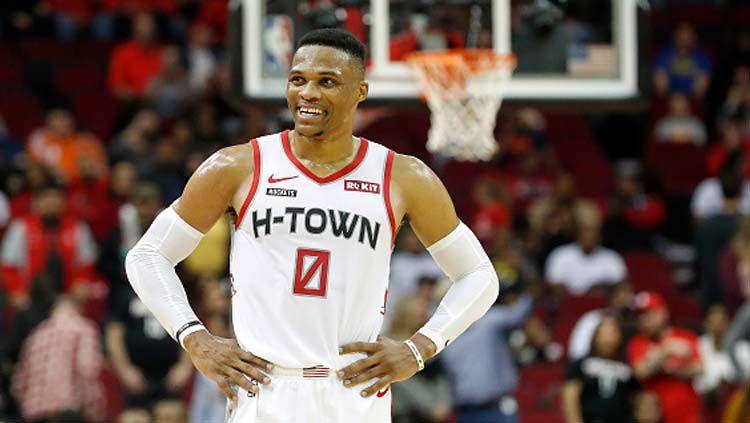Russell Westbrook, pemain bintang basket NBA milik Houston Rockets. Copyright: © Tim Warner/GettyImages