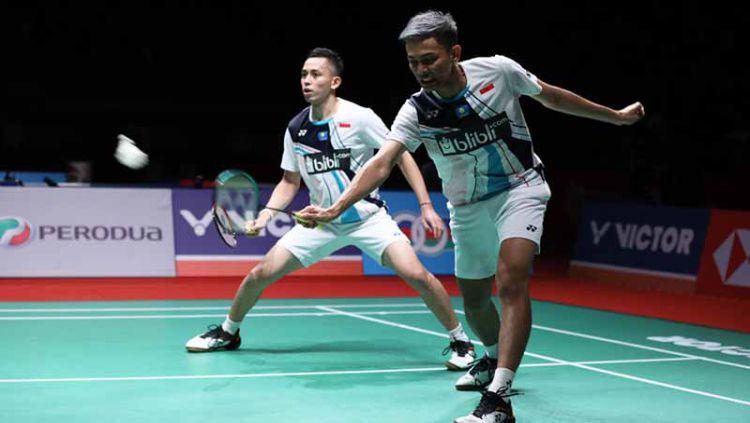 Salah satu ganda putra terbaik di Indonesia, Fajar Alfian, menjawab akan tantangan yang diberikan Kim Astrup. Copyright: © Humas PBSI