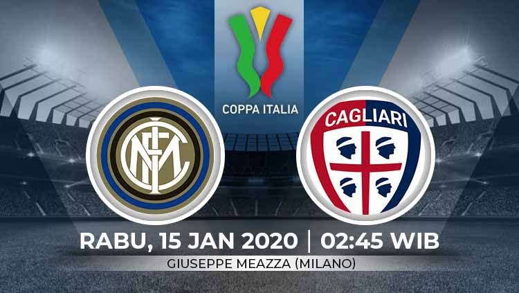 Inter Milan akan menjamu Cagliari dalam babak 16 besar Coppa Italia yang akan diselenggarakan pada hari Rabu (15/1/2020) pukul 02.45 WIB di Giuseppe Meazza. Copyright: © Grafis:Ynt/Indosport.com