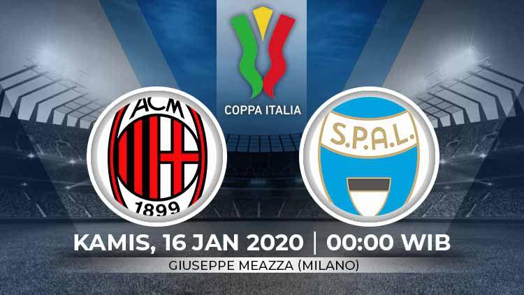 Prediksi pertandingan babak 16 besar Coppa Italia antara AC Milan vs SPAL. Copyright: © Grafis:Ynt/Indosport.com