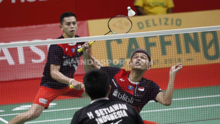 Hari ini, 23 Agustus 2019 setahun yang lalu, dua wakil Indonesia di sektor ganda putra sukses memastikan akan bertarung di semifinal Kejuaraan Dunia Bulutangkis Copyright: © Herry Ibrahim/INDOSPORT