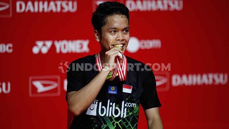 Pebulutangkis tunggal putra, Anthony Sinisuka Ginting sukses mencetak rekor di ranking BWF usai meraih gelar juara di Indonesia Masters 2020. Copyright: © Herry Ibrahim/INDOSPORT