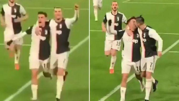 Cristiano Ronaldo tak sengaja mencium bibir Dybala dalam laga lanjutan Serie A Italia antara Juventus vs Parma. Copyright: © Twitter