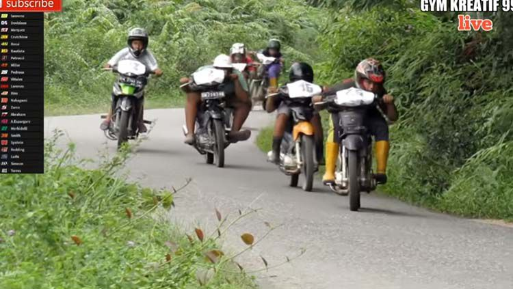 Parodi MotoGP 2020 karya anak Indonesia di Desa Tanah Datar ,Indragiri Hulu (Inhu), Riau. Copyright: © Youtube/Gym kreatif 99