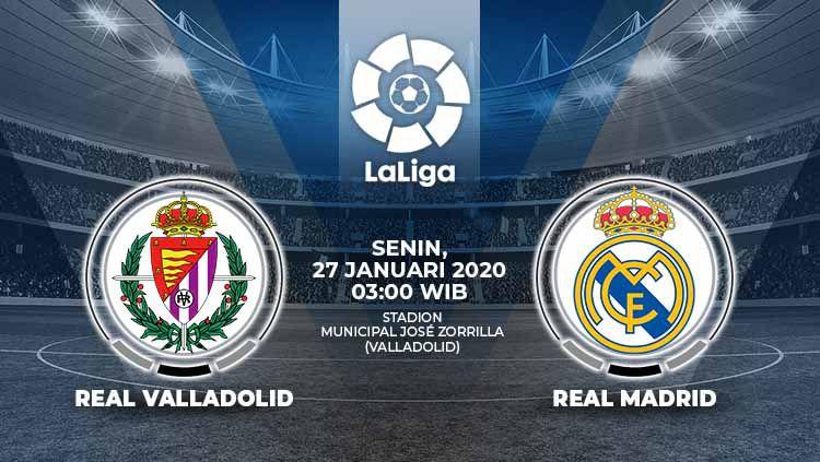Berikut prediksi pertandingan antara Real Valladolid vs Real Madrid pada pekan ke-21 LaLiga Spanyol 2019-2020, Senin (27/01/20) pagi hari WIB. Copyright: © Grafis:Ynt/Indosport.com