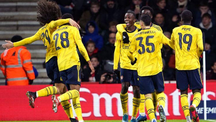 Eddie Nketiah merayakan golnya dalam laga Piala FA antara Bournemouth vs Arsenal Copyright: © Tess Derry/EMPICS/PA Images via Getty Images