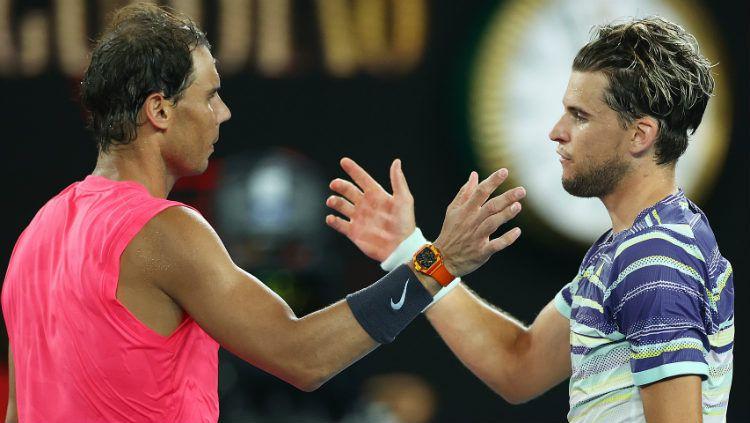Rafael Nadal takluk dari Dominic Thiem di perempatfinal Australia Terbuka 2020. Copyright: © Cameron Spencer/Getty Images