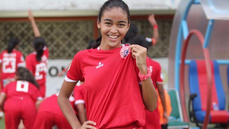 Winger Persija Jakarta Putri, Naomi Nielsen saat bermain di Liga 1 Putri musim 2019. Copyright: © instagram.com/naominielsen_