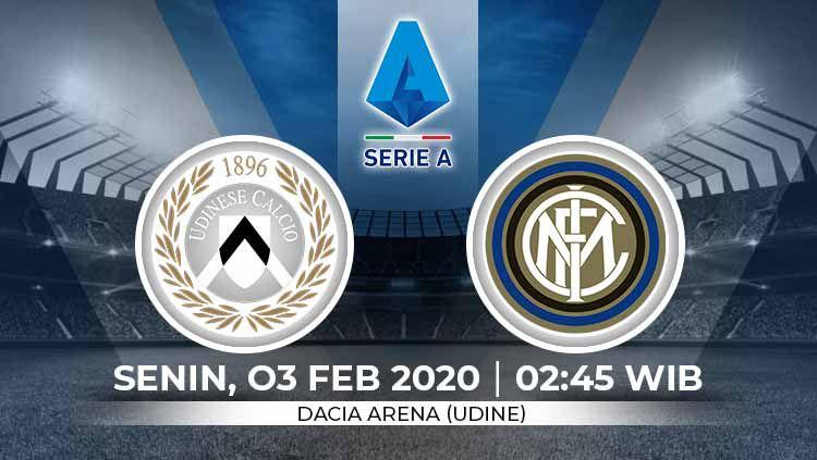 Berikut prediksi pertandingan antara Udinese vs Inter Milan dalam lanjutan Serie A Italia pekan ke-22, Senin (03/02/2020) dini hari WIB. Copyright: © Grafis:Ynt/Indosport.com