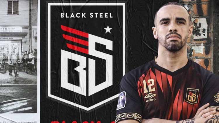 Jersey kandang Black Steel FC (merah) di ajang PFL 2020. Copyright: © Media Officer Blacksteel FC