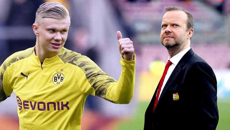 Berikut formasi Manchester United musim depan jika Ed Woodward memenuhi janji mendatangkan pemain yang diinginkan Ole Gunnar Solskjaer, termasuk Erling Haaland. Copyright: © Grafis:Ynt/Indosport.com