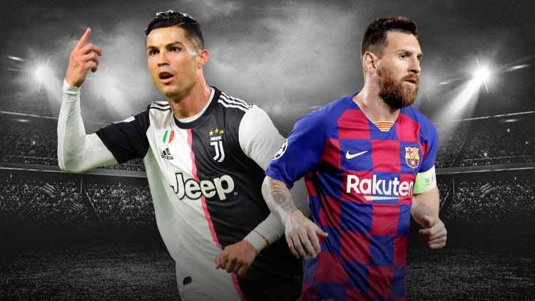 Megabintang Juventus Cristiano Ronaldo layak dapatkan julukan GOAT kalahkan Lionel Messi selaku striker Barcelona lewat lima rekor luar nalar ini. Copyright: © Grafis:Ynt/Indosport.com