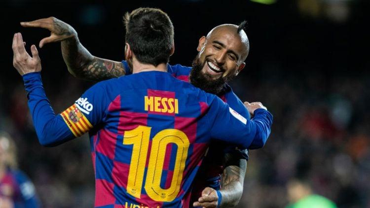 Dua bintang Barcelona, Lionel Messi dan Arturo Vidal Copyright: © Marc Gonzalez / AFP7 / Europa Press Sports via Getty Images