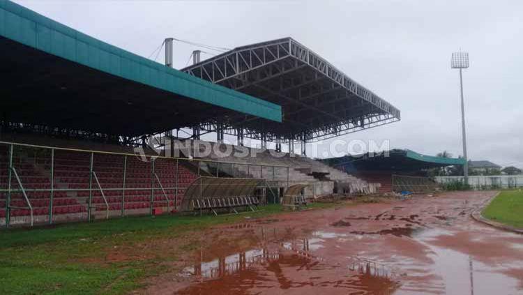 Kondisi Stadion 17 Mei Banjarmasin yang selesai renovasi tahap pertama pada Februari 2020 lalu. Copyright: © Ronald Seger Probowo/INDOSPORT