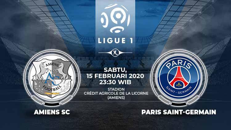 Berikut prediksi pertandingan Ligue 1 Prancis antara Amiens SC vs Paris Saint-Germain (PSG), Sabtu (15/02/20). Copyright: © Grafis:Yanto/Indosport.com