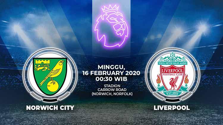 Berikut prediksi pertandingan antara Norwich City vs Liverpool dalam lanjutan Liga Inggris pekan ke-26, Minggu (16/02/20) dini hari WIB. Copyright: © Grafis:Yanto/Indosport.com