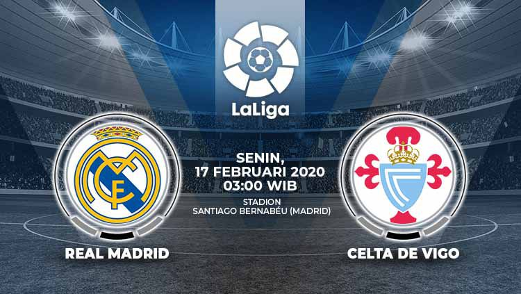 Real Madrid akan menjamu Celta Vigo pada pekan ke-24 LaLiga Spanyol. Pertandingan ini dapat disaksikan secara live streaming, Senin (17/2/20), pukul 03.00 WIB. Copyright: © Grafis:Yanto/Indosport.com