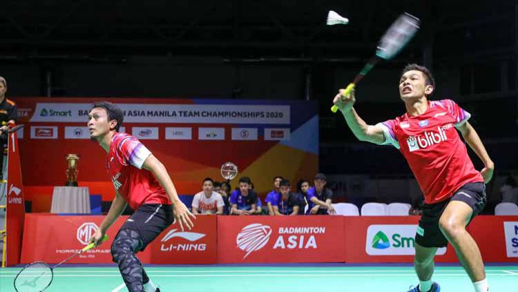 Inilah detik-detik pebulutangkis ganda putra Fajar Alfian 'kerasukan' tengil Kevin Sanjaya di final Badminton Asia Team Championships 2020. Copyright: © badmintonindonesia.org