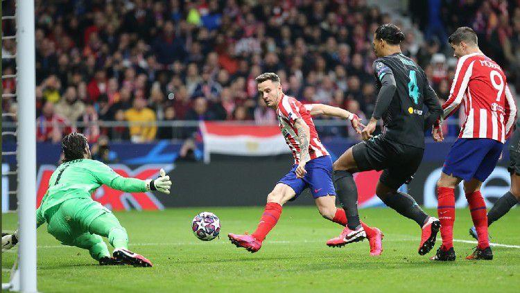 Saul Niguez mencetak gol di pertandingan babak 16 besar Liga Champions antara Atletico Madrid vs Liverpool, Rabu (29/02/20) dini hari WIB. Copyright: © Atletico Madrid