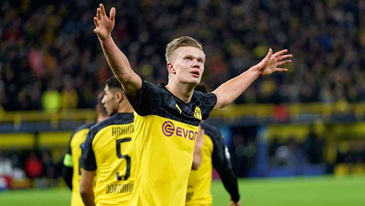 Pemain Borussia Dortmund, Erling Haaland di laga Liga Champions. Copyright: © Sylvain Lefevre/Getty Images