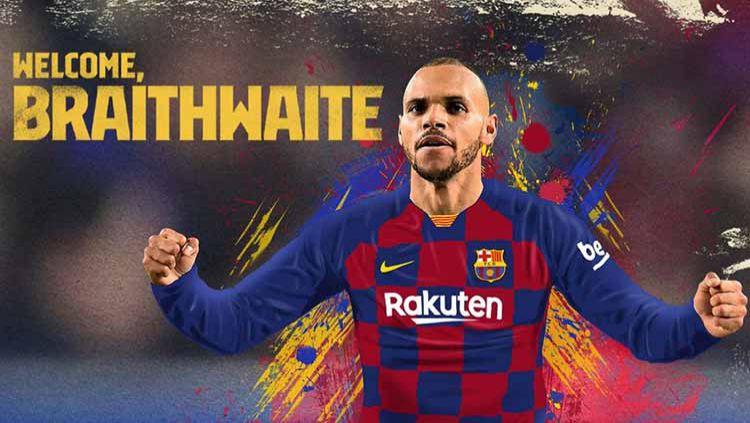 Raksasa sepak bola LaLiga Spanyol, Barcelona, telah resmi mendapatkan pemain pengganti Ousmane Dembele dari Deportivo Leganes yang bernama Martin Braithwaite. Copyright: © fcbarcelona.com