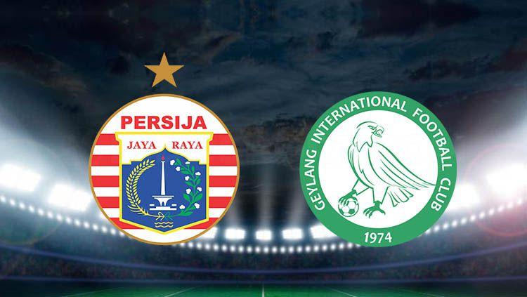 Ilustrasi logo Persija Jakarta vs Geylang International. Copyright: © facebook/geylanginternationalfc/forumpersija.blogspot.com/besthdwallpaper.com