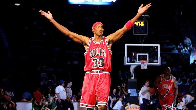 Scottie Pippen, salah satu legenda basket NBA dari tim Chicago Bulls. Copyright: © Jed Jacobsohn/Getty Images