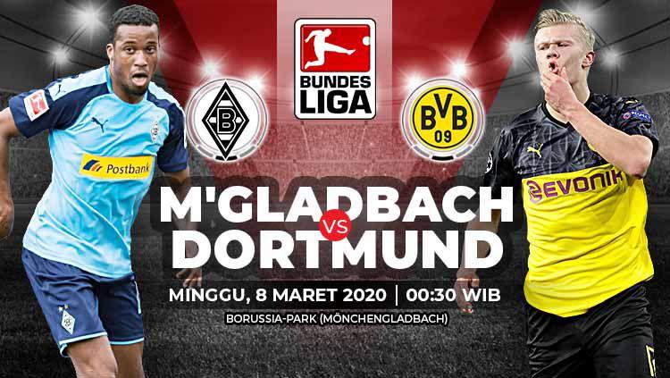 Pertandingan antara Borussia Moenchengladbach vs Borussia Dortmund (Bundesliga). Copyright: © Grafis: Yanto/Indosport.com