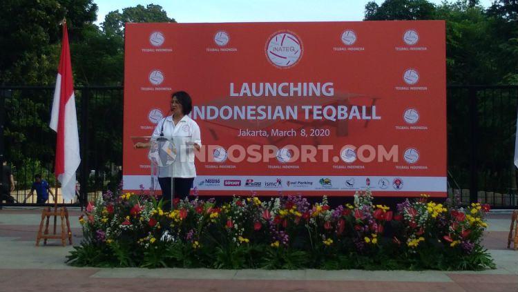 Ketua Teqball Indonesia, Hellen Sarlita de Lima. Copyright: © Tesa Yohana/INDOSPORT