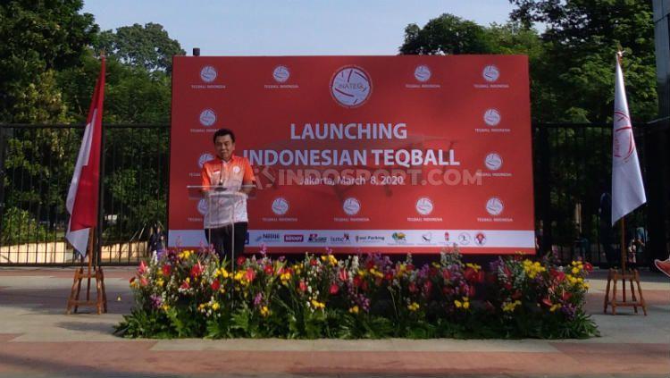 Deputi IV Kementerian Pemuda dan Olahraga, Candra Bhakti dalam acara peresmian Teqball Indonesia. Copyright: © Tesa Yohana/INDOSPORT