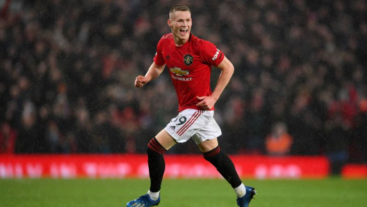 Wonderkid Manchester United, Scott McTominay merayakan golnya ke gawang Manchester City Copyright: © Laurence Griffiths/Getty Images