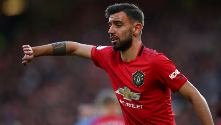 Bruno Fernandes di laga Manchester United vs Manchester City Copyright: © Robbie Jay Barratt - AMA/Getty Images