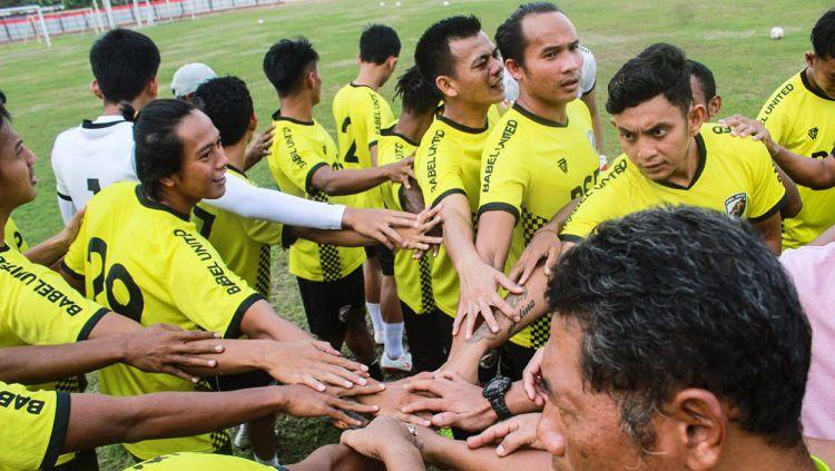 Para pemain klub Liga 2 Muba Babel United dijadwalkan mulai mengeber latihan perdana pada awal Agustus ini. Copyright: © Media Muba Babel United