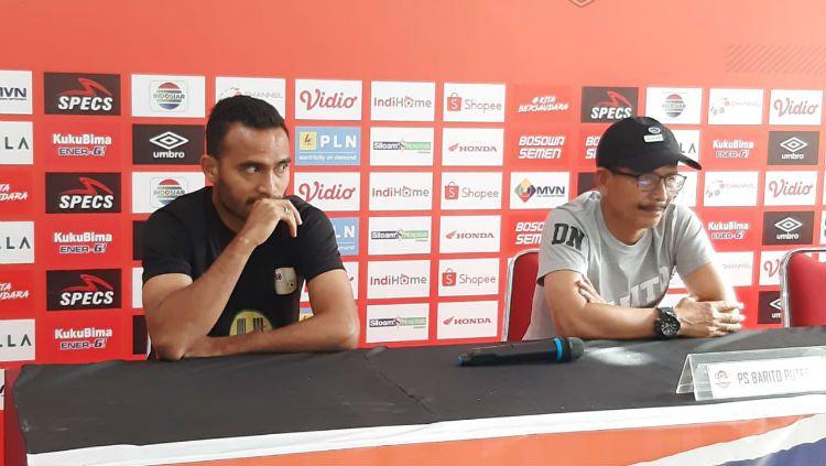 Pelatih dan pemain Barito Putera, Djajang Nurdjaman dan Rizky Pora Copyright: © Adriyan Adirizky Rahmat