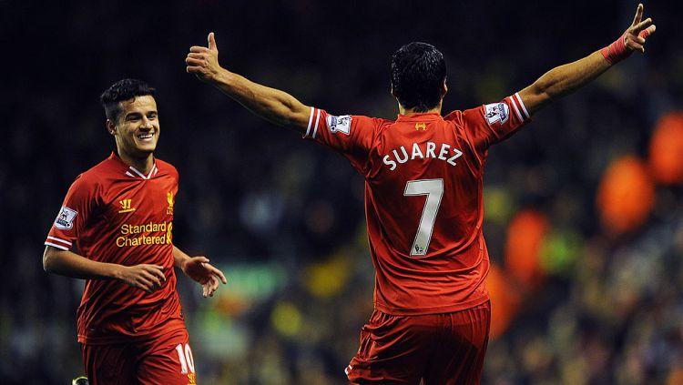 Philippe Coutinho dan Luis Suarez saat masih membela Liverpool. Copyright: © Andrew Powell/Liverpool FC via Getty Images