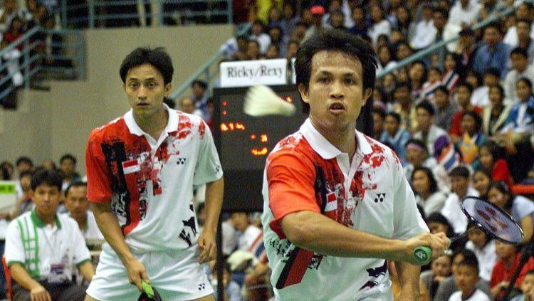 Legenda ganda putra Indonesia Ricky Subagja/Rexy Mainaky di Asian Games. Copyright: © Toshifumi Kitamura/AFP via Getty Images