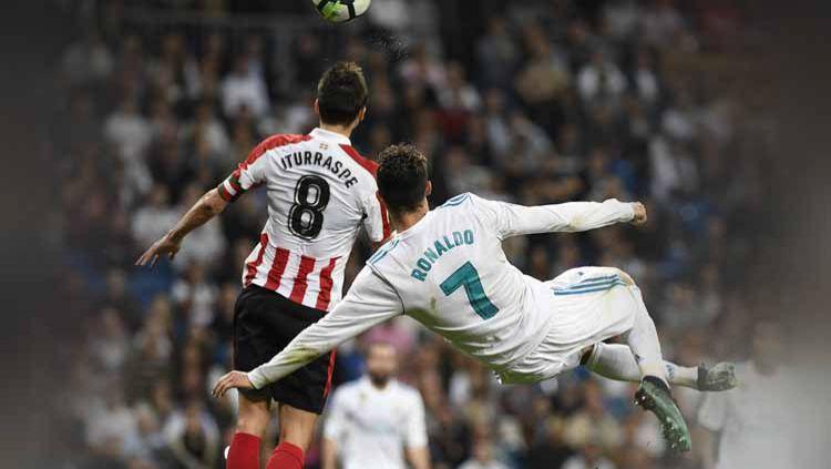 Gol terakhir Cristiano Ronaldo untuk Real Madrid di Santiago Bernabeu. Copyright: © LaLiga