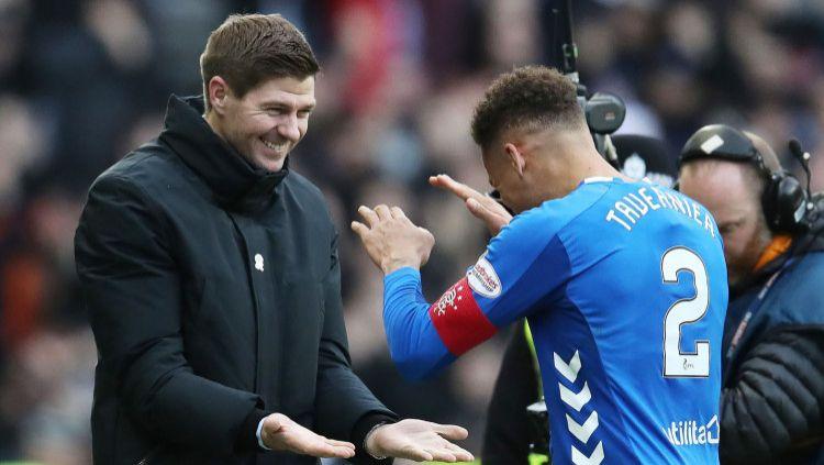 Legenda Liverpool Steven Gerrard yang kini melatih klub Skotlandia Rangers FC (kiri) Copyright: © Ian MacNicol/Getty Images