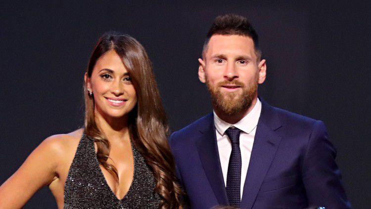Antonella Roccuzzo dan Lionel Messi. Copyright: © Simon Hofmann - FIFA/FIFA via Getty Images