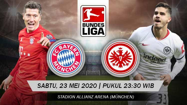 Bayern Munchen akan segera melakoni laga lanjutan Bundesliga Jerman melawan Eintracht Frankfurt pada hari ini, Sabtu (23/05/20). Copyright: © Grafis: Yanto/INDOSPORT