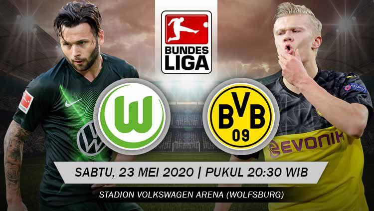 Borussia Dortmund akan segera bertandang ke kandang Wolfsburg untuk melakoni laga lanjutan Bundesliga Jerman hari ini, Sabtu (23/05/20). Copyright: © Grafis: Yanto/INDOSPORT