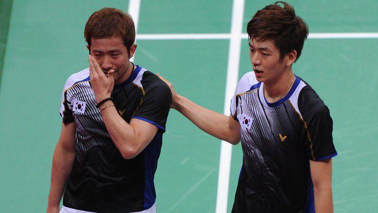 Lee Yong-dae (kanan) dan Jung Jae-sung menjadi salah satu skuat Korea Selatan di Piala Thomas 2008. Copyright: © Michael Regan/Getty Images