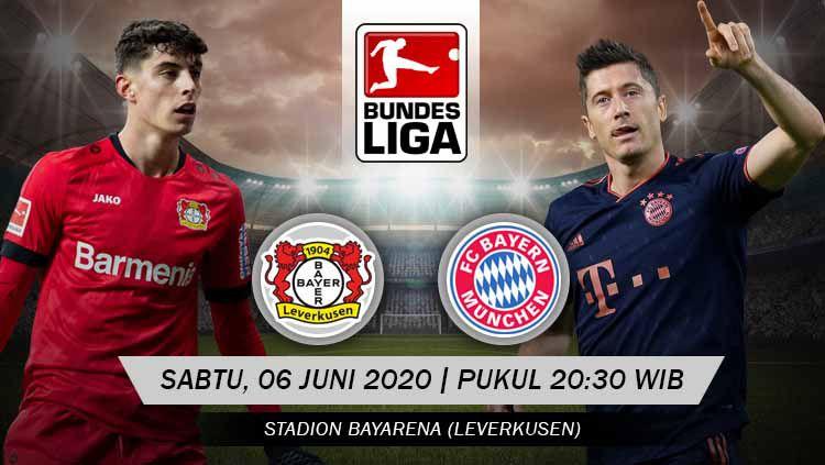 Berikut prediksi pertandingan kompetisi Bundesliga Jerman 2019/2020 pada pekan ke-30 antara Bayer Leverkusen vs Bayern Munchen. Copyright: © Grafis: Yanto/INDOSPORT