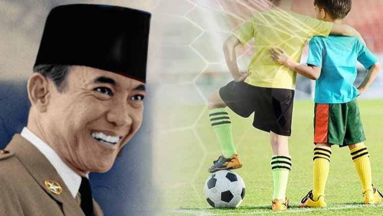 Ilustrasi Presiden Soekarno dan sepak bola. Copyright: © Grafis: Yanto/INDOSPORT