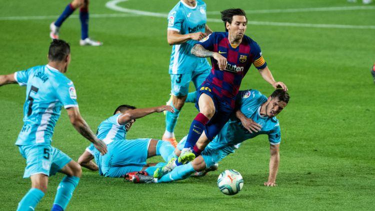 Legenda Timnas Argentina sebut satu jurus jitu untuk menghentikan megabintang Barcelona, Lionel Messi. Copyright: © Marc Gonzalez Aloma / AFP7 / Europa Press Sports via Getty Images