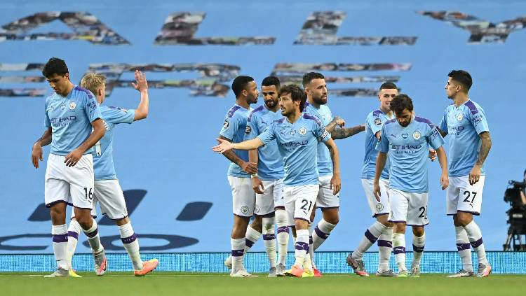 Klub Liga Inggris, Manchester City bisa saja membuang lima pemain setelah memastikan lolos ke Liga Champions musim depan. Copyright: © Shaun Botterill / Getty Images