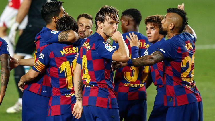 Dibuang ke Sevilla dan akhirnya bertemu lagi dengan Barcelona di laga lanjutan Copa del Rey, begini aksi Ivan Rakitic ketika cetak gol. Copyright: © Xavi B. / AFP7 / Europa Press Sports via Getty Images