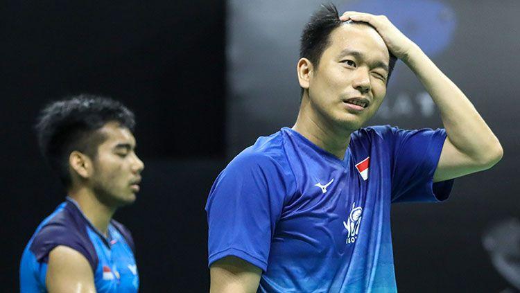 Hendra Setiawan/Pramudya Kusumawardana Riyanto di Mola TV PBSI Home Tournament. Copyright: © Badminton Indonesia